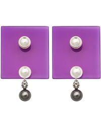 Sylvio Giardina - Perspex Square Stud Earrings Purple - Lyst