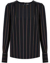 Chloé - Vertical Stripe Blouse Black - Lyst
