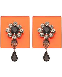Sylvio Giardina - Perspex Square Drop Earrings Orange - Lyst
