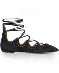 Isabel Marant - Leo Lace-up Ballet Flats Suede Faded Black - Lyst