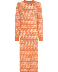 Fendi - L/s Logo Knit Midi Dress Kumquat - Lyst