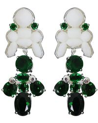 EK Thongprasert - Silicone Drop Earrings White/green Crystals - Lyst