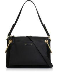 Chloé - Roy Medium Shoulder Bag Black/gold - Lyst