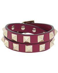 Valentino | Rockstud Wrap Leather Cuff Camelia | Lyst