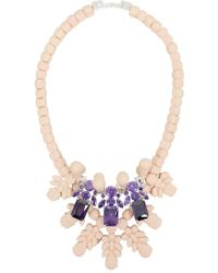 EK Thongprasert - Silicone Three Jewel Neckpiece Beige/amethyst Crystals - Lyst
