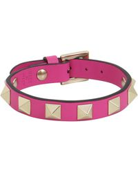 Valentino - Rockstud Leather Cuff Pink Orchid - Lyst