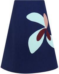 57c3966441 Delpozo Pleated Metallic Jacquard Mini Skirt in Green - Lyst
