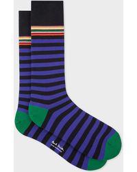 Paul Smith - Black And Purple Stripe Socks - Lyst