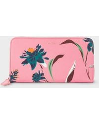 Paul Smith - Large Pink 'Pacific Rose' Print Leather Zip-Around Purse - Lyst