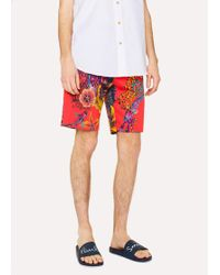 Paul Smith - Red 'Ocean' Print Stretch-Cotton Shorts - Lyst