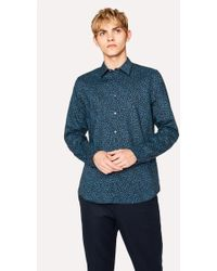 Paul Smith - Tailored-Fit Navy 'Dandelion' Print Cotton Shirt - Lyst