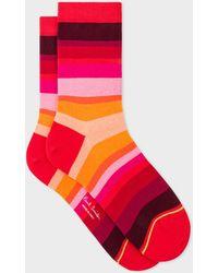 Paul Smith - Red Tonal-Stripe Socks - Lyst