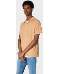 Paul Smith - Classic-fit Camel Short-sleeve Ripstop Cotton Shirt - Lyst