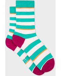 Paul Smith - Turquoise And Ecru Stripe Socks - Lyst