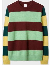 Paul Smith - Burgundy And Green Stripe Lambswool Jumper - Lyst