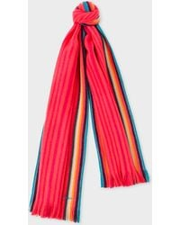 Paul Smith - Pink 'Artist Stripe' Band Merino Wool Scarf - Lyst