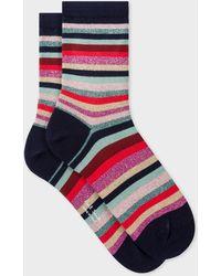 Paul Smith - Navy Glitter 'Swirl Stripe' Socks - Lyst
