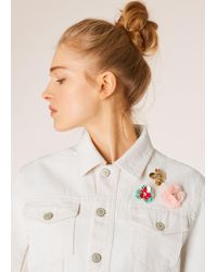 Paul Smith - White Denim Jacket With Flower Embellishments - Lyst