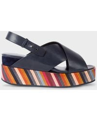 Paul Smith   Women's Dark Navy 'Noe' Leather Sandals With Graphic Print Soles   Lyst
