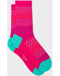 Paul Smith - Pink Multi-Coloured Zig-Zag Stripe Socks - Lyst