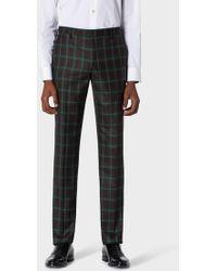 Paul Smith - Slim-fit Green Tartan Check Wool Trousers - Lyst