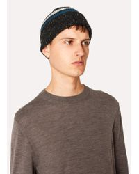 Paul Smith - Black Donegal Stripe Wool Beanie Hat - Lyst