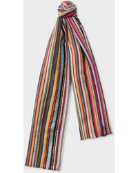 Paul Smith - Signature Stripe Textured Scarf - Lyst