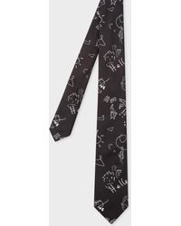 Paul Smith - Black 'Paul's Sketchbook' Pattern Narrow Silk Tie - Lyst