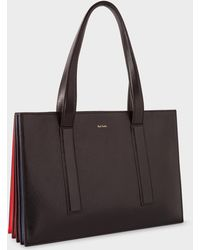 Paul Smith - Black 'concertina' Small Leather Tote Bag - Lyst