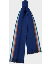 Paul Smith - Double-Face Blue Striped-Edge Wool Scarf - Lyst