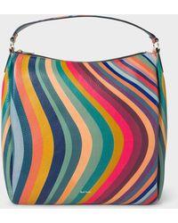 Paul Smith - 'Swirl' Print Leather Hobo Bag - Lyst