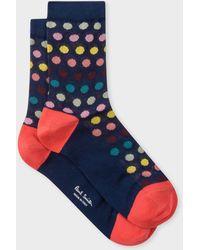 Paul Smith - Navy Polka Dot Semi-Sheer Socks - Lyst