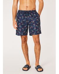 93f5111e79 Paul Smith - Navy 'seahorse' Print Long Swim Shorts - Lyst