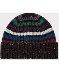 Paul Smith - Black Donegal Stripe Wool Beanie Hat - Lyst