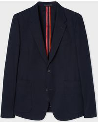 Paul Smith - Mid-Fit Navy Unlined Stretch-Cotton Blazer - Lyst