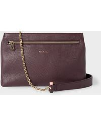 Paul Smith - Burgundy Leather Pouch With Gold Chain - Lyst