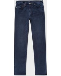 Paul Smith - Tapered-Fit Navy Over-Dye Stretch-Denim Jeans - Lyst