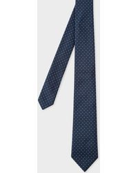Paul Smith - Navy Pin-Dot Narrow Silk Tie - Lyst