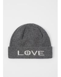 Paul Smith - Grey 'Peace And Love' Wool Beanie Hat - Lyst