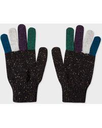Paul Smith - Black Donegal Stripe Wool Gloves - Lyst