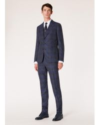 Paul Smith Tailored-fit Navy Check Slub Wool And Silk-blend Three-piece Suit
