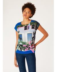 Paul Smith - Blue Sleeveless 'Tropical Miami' Print T-Shirt - Lyst