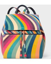 Paul Smith - 'Swirl' Print Leather Backpack - Lyst