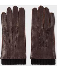Paul Smith - Chocolate Brown Deerskin Silk-cashmere Lined Gloves - Lyst