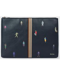 Paul Smith - Dark Navy Leather 'People' Motif Document Pouch - Lyst