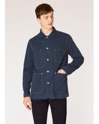 Paul Smith - Navy Denim Stretch-Cotton Chore Jacket With Multi-Colour Stitching - Lyst