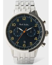 Paul Smith - Men's Petrol And Silver 'precision' Chronograph Watch - Lyst