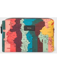 Paul Smith - Artist Stripe 'World Map' Print Canvas Wash Bag - Lyst
