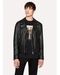 Paul Smith - Heavy Grained-Leather Asymmetric-Zip Biker Jacket - Lyst