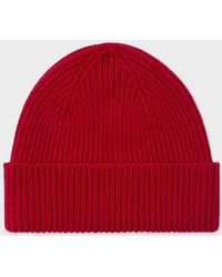 Paul Smith   Men's Red Cashmere-Blend Beanie Hat   Lyst